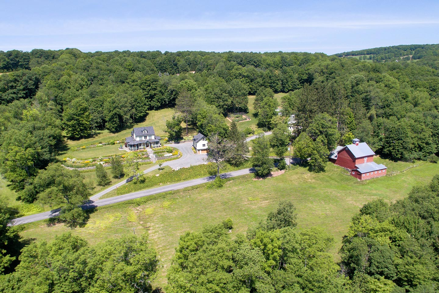 Breezy Hill Aerial View with Barn